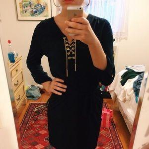 Michael Kors Navy Blue Chain Lace Up Dress